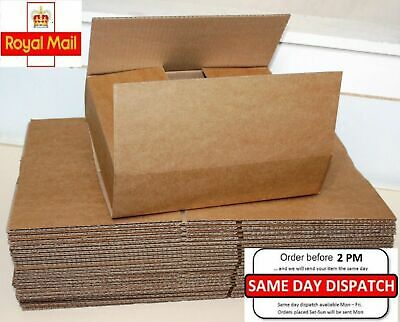 "25 Boxes 12x9x2.6"" Single Wall Royal Mail Small Parcel Sizes Cardboard Boxes"