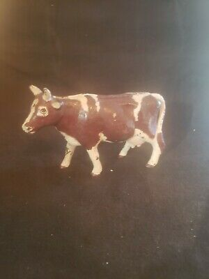Antique Cast Iron Still Penny Bank Brown and White Cow