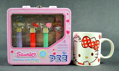 SANRIO Hello Kitty & My Melody Tin Box with PEZ Dispensers / SANRIO Mug 12 oz.