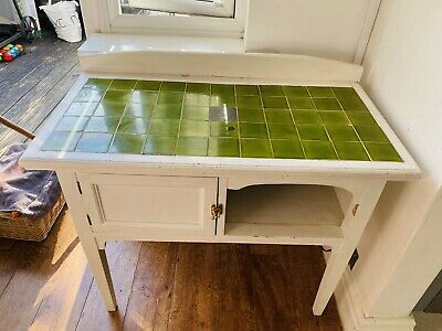 Beautiful Victorian-Style Tiled Washstand - Painted White