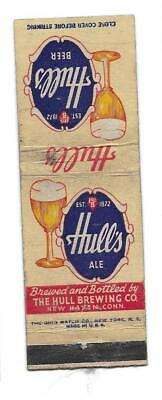 Hull Brewing Company Hull's Ale New Haven CT Beer Brewery Matchbook Matchcover
