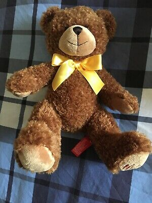 Hamleys Brown Teddy Bear Plush Toy Suitable From Birth,  Yellow Bow