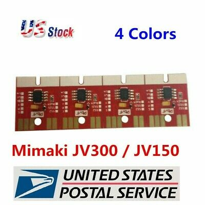 Chips Permanent Mimaki JV300 /JV150 SB53 Ink Cartridge 4 Colors CMYK US Seller