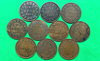 Lot of 10 Different Old Canada Large Cent Coins 1884 -1919 !!
