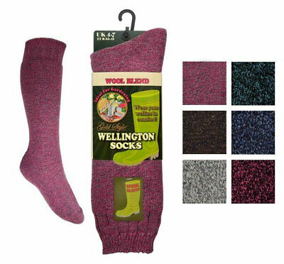 4 Pairs Ladies Bramble /'Outdoor Activity/'  Boot or Welly Socks  Size UK 4-7