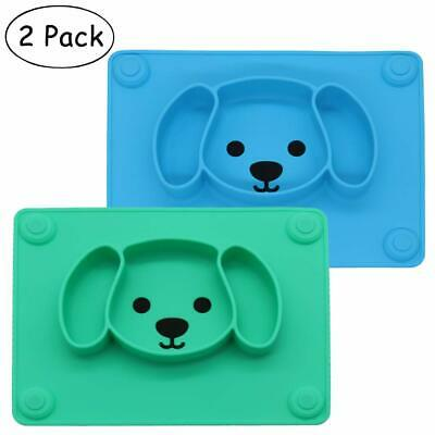 CLEARANCE Baby Silicone Suction Placemat + Plates, 2 Packs, (Blue + Green)