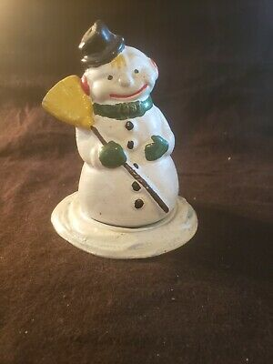 Antique Cast Iron Still Penny Bank Snowman by Reynolds Toys 25