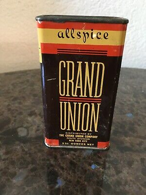 Vintage spice tin GRAND UNION ALLSPICE 2 3/4oz Grand Union New York / All Spice