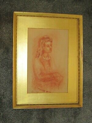 Vintage red chalk drawing on paper, portrait of a lady, signed and dated 1945.