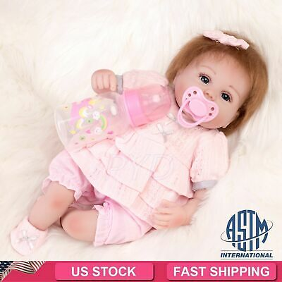 "16"" Reborn Dolls Handmade Vinyl Silicone Baby Girl Doll Lifelike Floppy Hair Toy"