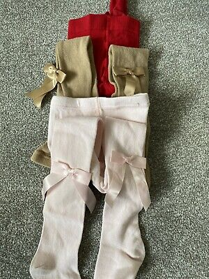 4 Pairs of girls tights  3 with bows on Age 6