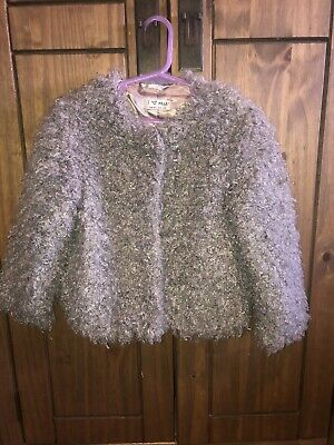 Next Girls Age 4 Fluffy Jacket Grey Mink Fab Condition