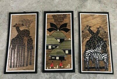 "Set of 3 African Wall Hangings 16"" x 8"" - Village Scene, Giraffes, Zebra - NEW"