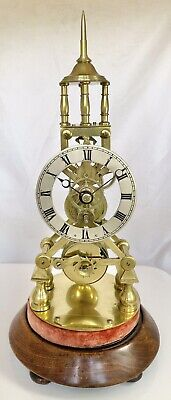 19th Century Victorian English Brass Fusee Skeleton Clock c.1860