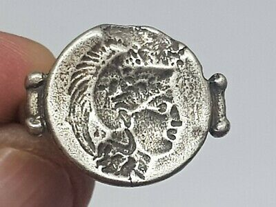 Extremely Rare Ancient Greek Silver Ring Of Athens Head 7,7 Gr 20 Mm