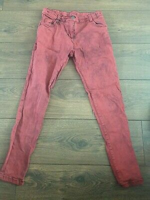 Red Jeans Girls Age 11-12 F&F No Tag But Unworn