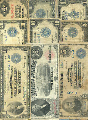 Collection of 9 diifferent large size currency types in circulated condition