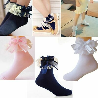 Cute Short Baby Girls Ankle Big Bow Lace Frilly Ruffle Cotton Princess Socks