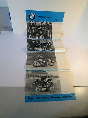 1971 BMW Motorcycle Brochure 1/71 dealer 4 page poster  RARE  R 75/5