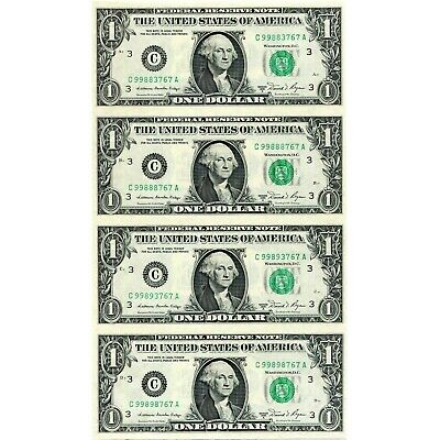 $1 *UNCIRCULATED UNCUT SHEET* of 4(x1) REAL MONEY