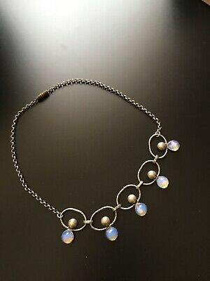 Stunning Vintage Style Silver Chain Necklace with Gorgeous inset Moonstones!!