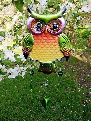Owl with Bell Wind Chime Multicolor