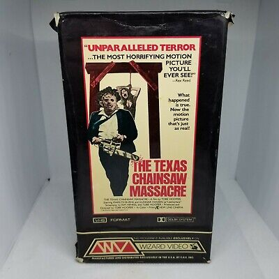 The Texas Chainsaw Massacre Media Vhs Tape Wizard Video Box 1982 Vintage