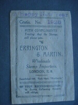 Vintage Wax Paper Envelope for Stamps, Errington & Martin 1928