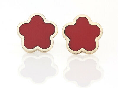 14k Yellow Gold Clover Red Coral Earrings