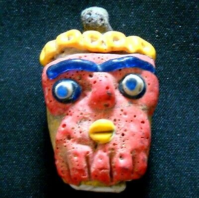 Old Vintage Antique Phoenician Handmade Mosaic glass Red Face Pendant Bead 26