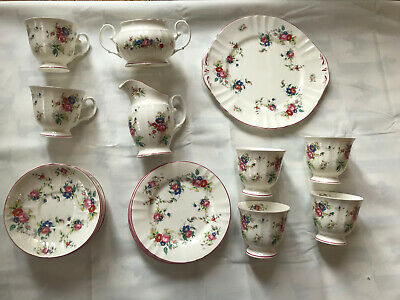 Vintage Royal Stafford Tea Set Floral 6 Cups Saucers Cake Plate Afternoon Tea