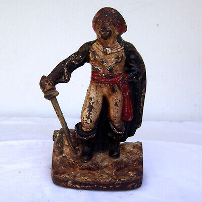 Vintage Cast Iron Pirate Doorstop or Bookend