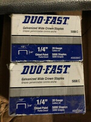 "Duo-Fast 5008C 20 Gauge 1/4"" Leg x 1/2"" Crown Staples (2 Pack Total 10,000) NEW"