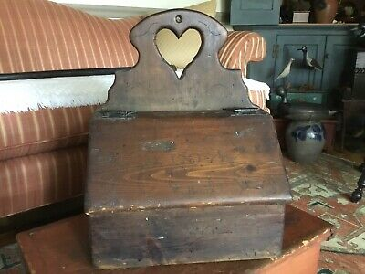 Vintage Antique Style Primitive Hanging Document Box Scratch Decorated 1805