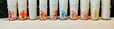 10 Vintage 1953 Welch's  Jelly Jar Juice Glasses Howdy Doody Embossed Bottom