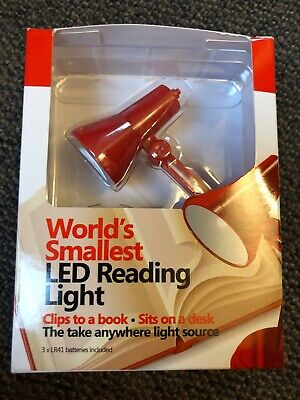 World's Smallest LED Reading Light Batteries Included Clips And Sits