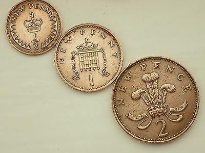1971-1/2 Half NEW Penny + 1 P One NEW Penny+2 P Two NEW Pence Coins