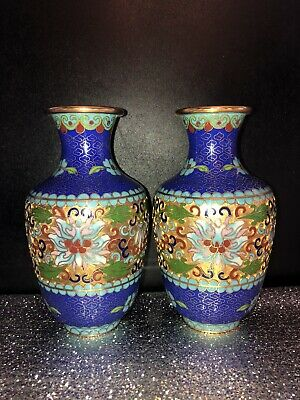 Pair Of Chinese Cloisonné 3d? Floral Decorated 15.5cm Vases STUNNING !