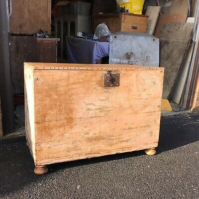 Large  Antique  Rustic  Pine Coffer /  Chest / Bedding  Box