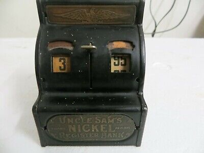 Old Uncle Sam's Nickel Register Bank With Top Coin Slot