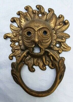 """ANTIQUE BRASS LIONS HEAD W RING DRAWER PULL HANDLE VTG 4 1/2""""x3 1/4"""" DETAILED"""