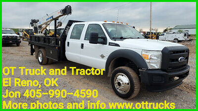 2011 Ford F-550 4wd 5000lb Crane 11ft Flatbed Propane Tank Truck