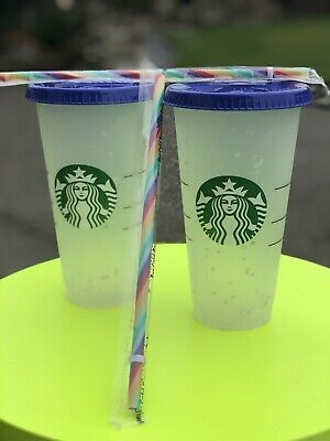 New Set 2 Starbucks Confetti Color Changing Cup Rainbow Straw Pride Summer 2020