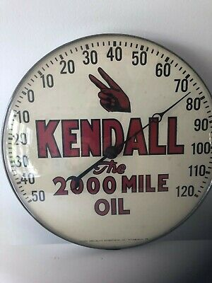 "Vintage Kendall Motor Oil Advertising Thermometer 12"" Gas & Oil Collectible"