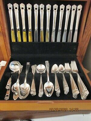 1847 Rogers Bros Silverplate Flatware ETERNALLY YOURS 103 pc set for 12 +serving