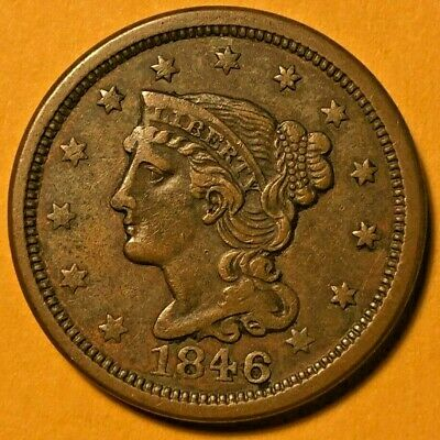 1846 Copper Braided Hair Large Cent - Strong Details - Nice Early US Coin!