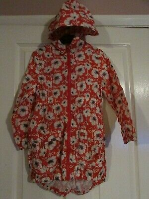 girls red/white floral hooded raincoat from Next age 5-6yrs