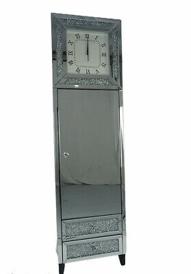 Crush Diamond Crystals Mirrored Grandfather Clock With Draws 1 Cupboard UK