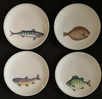 "Villeroy & Boch Atlantic Fish Dinner Plates 10.25"" Set Of 4"
