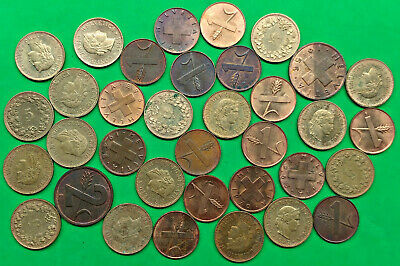 Lot of 34 Mixed Old Switzerland 1-2-5 Rappen Coins Vintage Swiss !!